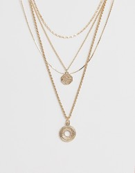 Warehouse layered necklace with disc detail in gold - Gold