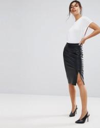 Warehouse Leather Look Pencil Skirt - Black