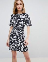 Warehouse Leopard Print Crepe Mini Shift Dress - Multi