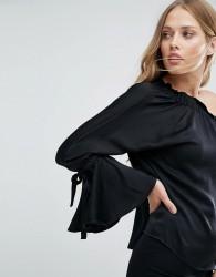 Warehouse Long Sleeve One Shoulder Top - Black