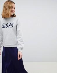 Warehouse Love Slogan Sweatshirt - Grey