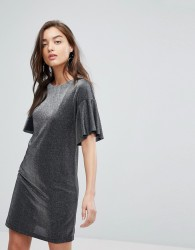 Warehouse Metallic Frill Tunic Dress - Black