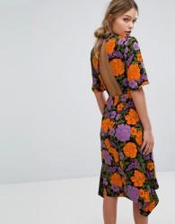 Warehouse Mica Carnation Open Back Dress - Multi