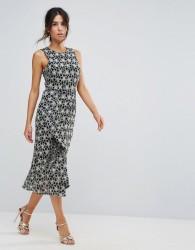 Warehouse Monochrome Lace Dress - Multi