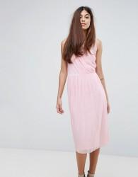 Warehouse Occasion Mesh Wrap Dress - Pink