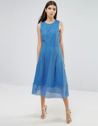 Warehouse Occasion Skater Dress With Sheer Skirt Layer - Blue