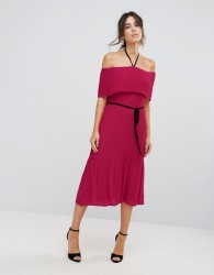 Warehouse Off Shoulder Pleated Tie Neck Dress - Pink