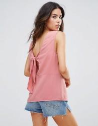 Warehouse Open Back Tie Top - Pink