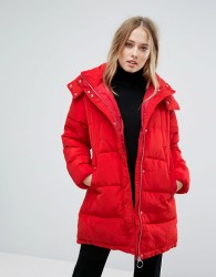Warehouse Oversized Longline Padded Coat - Red