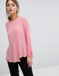 Warehouse Peplum Hem Top - Pink