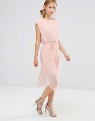Warehouse Pleated Curved Hem Dress - Pink