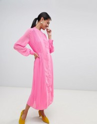 Warehouse pleated shirt dress in pink - Pink