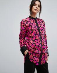 Warehouse Poppy Print Silk Blouse - Multi