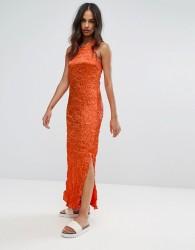Warehouse Premium Crinkle Fabric Twist Back Maxi Dress - Orange