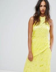 Warehouse Premium Crushed Velvet Halter Neck Top - Yellow