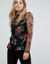 Warehouse Premium Floral Embroidered Top - Multi