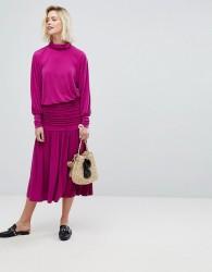 Warehouse Ruched Midi Skirt - Purple