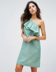 Warehouse Ruffle One Shoulder Dress - Green