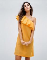 Warehouse Ruffle One Shoulder Dress - Yellow