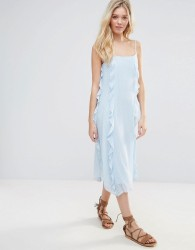 Warehouse Ruffle Spot Midi Dress - Blue
