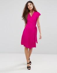 Warehouse Short Sleeve Wrap Front Dress - Pink