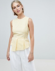 Warehouse sleeveless blouse with peplum detail in yellow stripe - Yellow