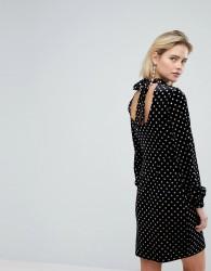Warehouse Spot Velvet Shift Dress - Black