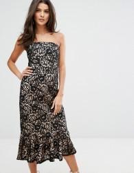 Warehouse Strapless Premium Lace Dress - Black
