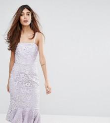 Warehouse Strapless Premium Lace Dress - Purple