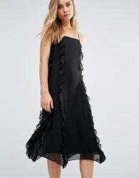 Warehouse Strappy Frill Dress - Black