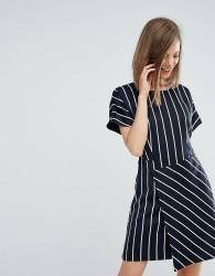 Warehouse Stripe Dress With Wrap Dress - Black