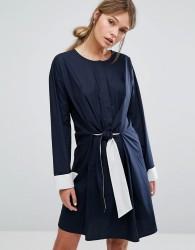 Warehouse Tie Front Dress - Navy