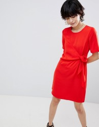 Warehouse Tie Front Dress - Red