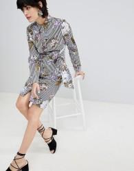 Warehouse Tie Front Floral Stripe Shirt Dress - Blue