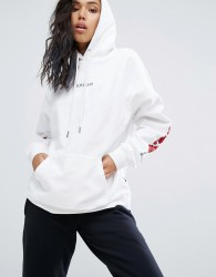 Wasted Paris Oversized Skate Hoodie With Rose Print Arms - White
