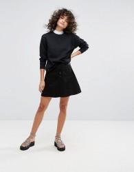 Waven A Line Denim Skirt - Black
