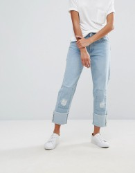 Waven Aki Boyfriend Jeans with Badges and Patches - Blue