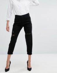 Waven Aki Boyfriend Jeans with Rips - Black