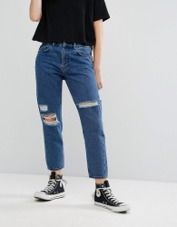 Waven Aki Boyfriend Jeans with Rips - Blue