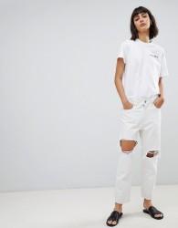 Waven Aki destroyed boyfriend jeans - White