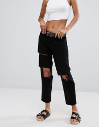 Waven Aki Patched True Boyfriend Jeans - Black