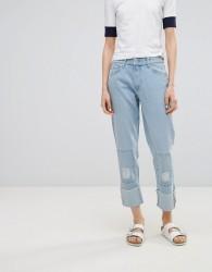 Waven Akins True Boyfriend Patch Jeans - Blue