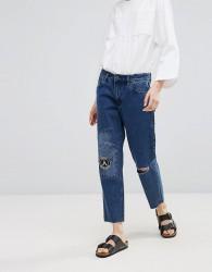 Waven Akire True Boyfriend Ripped Jeans - Navy