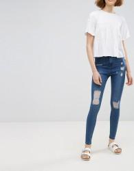 Waven Anika Destroyed High Rise Skinny Jeans - Blue