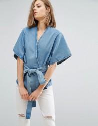 Waven Cati Tie Front Top - Blue