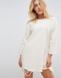 Waven Eira Destroyed Hem Denim Dress - Cream