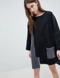 Waven Eira Patchwork Denim Shift Dress - Black