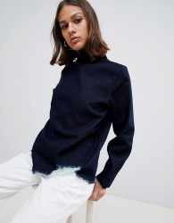 Waven Eleni destroyed denim funnel neck top - Navy