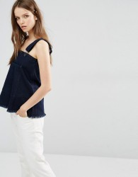 Waven Elise Dungaree Top with Raw Hem - Blue
