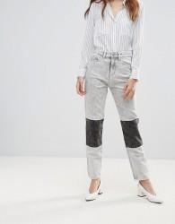 Waven Elsa Panelled Acid Wash Mom Jeans - Grey